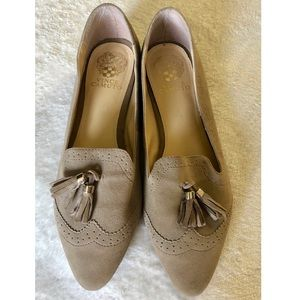 Vince Camuto Rizell Tassel Taupe Suade Loafers